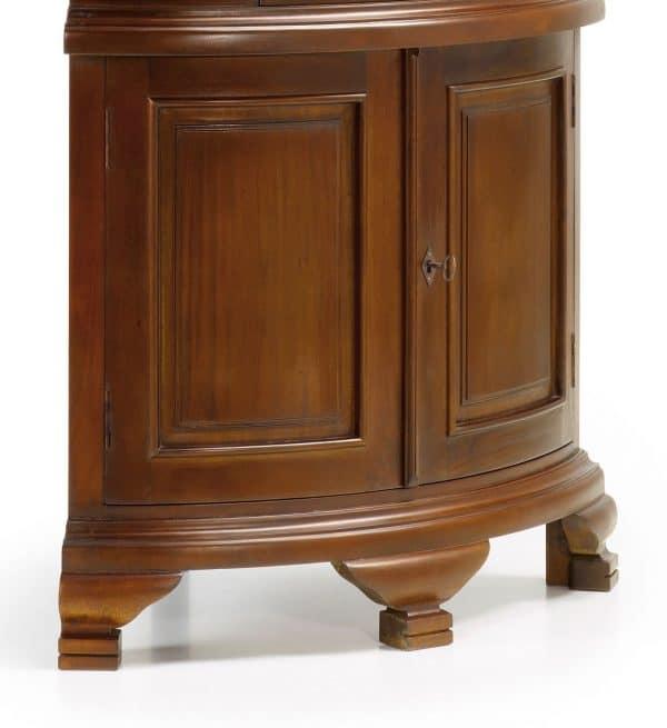 Vitrina vintage esquinera 1 cajón 4 puertas