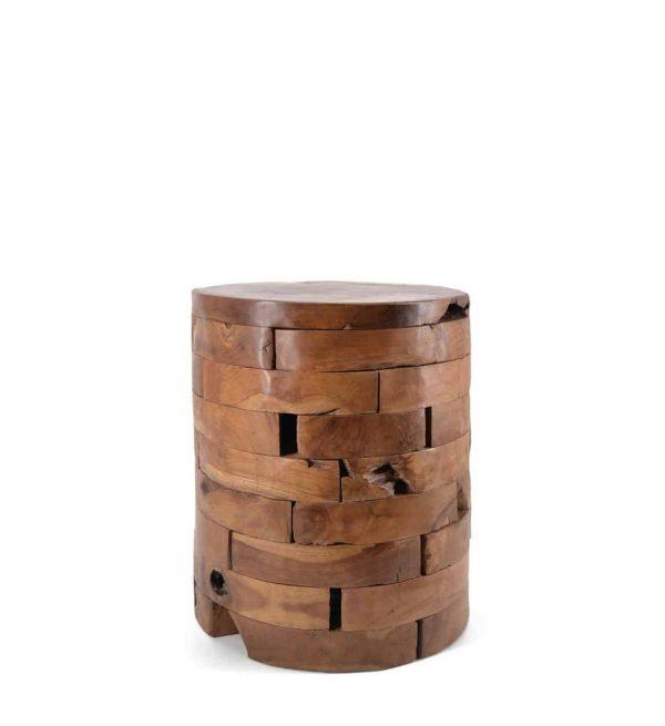 Taburete teka troncos horizontales
