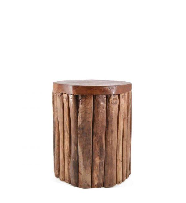 Taburete teka troncos verticales