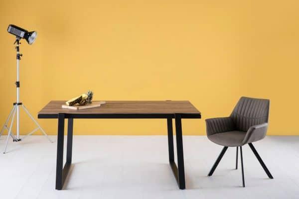 Mesa rectangular Liz 160 cm roble pie negro