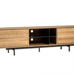 Mueble tv Beatriz 1 puerta 2 cajones 180 cm roble , negro