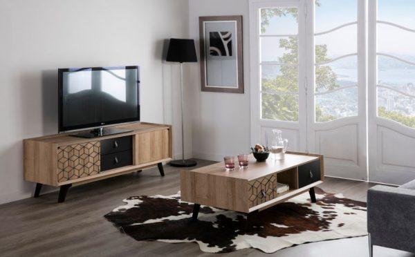 Mueble tv Ceilan 2 puertas 2 cajones roble y  negro