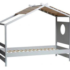 Cama 0.90 cabaña Nayah 90×190 gris claro y roble