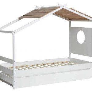 Cama 0.90 cabaña Nayah cajon 90×190 blanco y roble