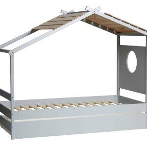 Cama cabaña Nayah con cajon 90×190 gris claro y roble