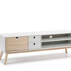 Mueble tv Kiara 1 puerta 2 huecos 2 cajones  blanco y natural