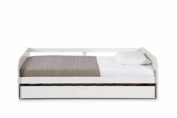 Cama nido 0.90 redona 90×190 blanco con somier arrastre