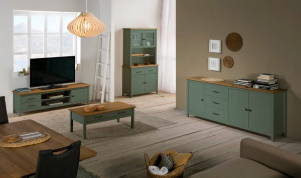Mueble tv Miranda 1 puerta 2 huecos 2 cajones verde y cera