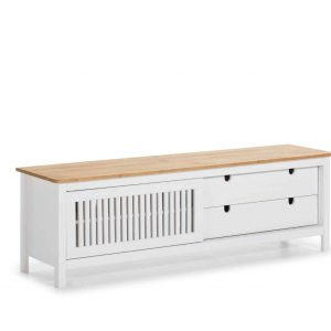 Mueble tv Bruna  1 puerta corredera 2 cajones cera y blanco lavado