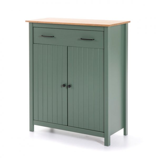 Mueble auxiliar Miranda 2 puertas 1 cajon verde y cera