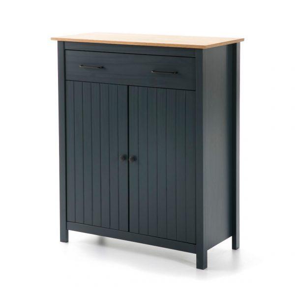 Mueble auxiliar Miranda 2 puertas 1 cajon azul y cera