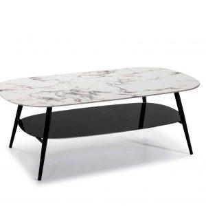 Mesa centro rectangular Alina 60×120 cristal marmol blanco