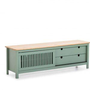 Mueble tv Bruna  1 puerta corredera 2 cajones cera y verde