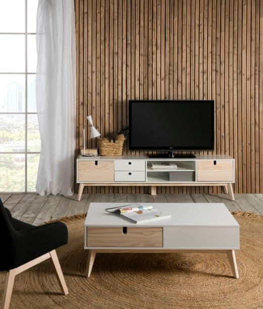 Mueble tv Kiara 2 puertas 2 cajones 2 huecos blanco y natural