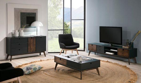 Mueble tv Kiara 2 puertas 2 cajones 2 huecos gris  antracita y cera oscura