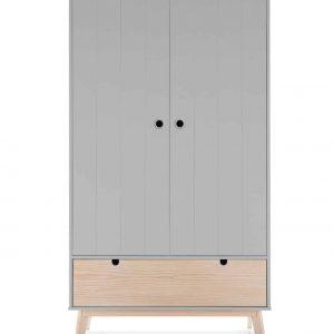Armario Kiara 2 puertas 1 cajon gris claro y cera blanca