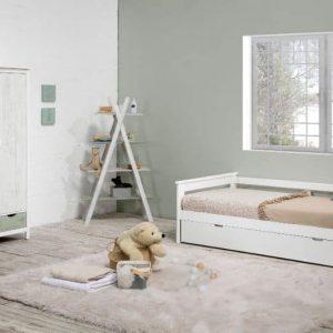 Cama nido Perlé 90×190 blanco lacado verde y gris con somier