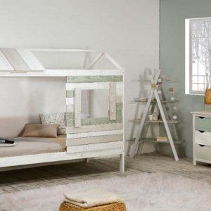 Cama cabaña Perlé 90×190 blanco lacado verde y gris