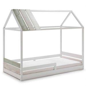 Cama cabaña Ilenia 90×190 blanco lacado verde  y gris