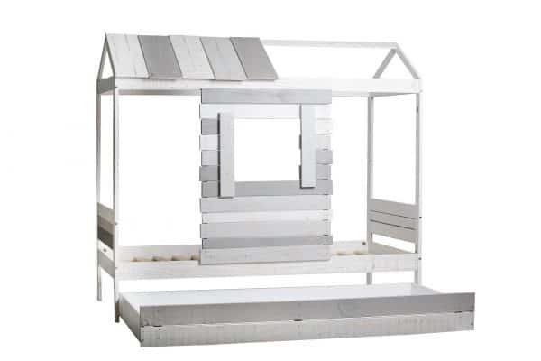 Cama cabaña Sia-2 blanco y gris claro y gris oscuro
