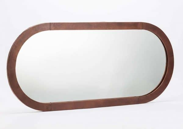 Espejo cuero oval marron