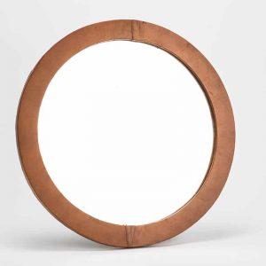 Espejo cuero redondo marron