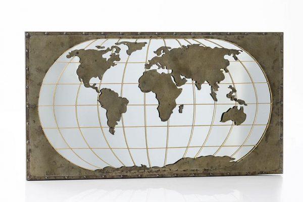 Espejo mapa del mundo metal