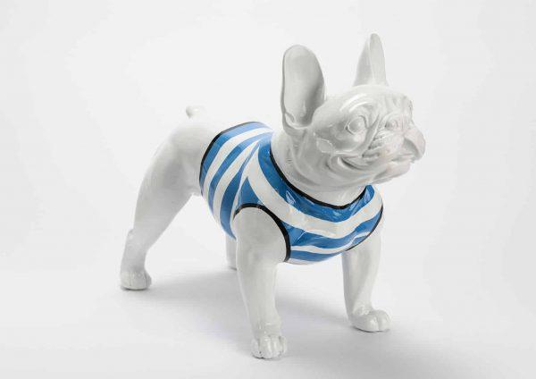 Bulldog sentado marinero azul