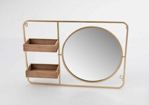 Espejo  et estanteria  gold