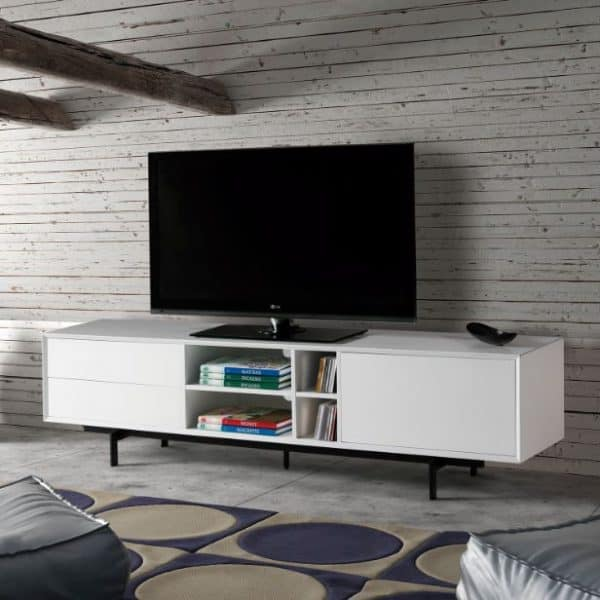 Mueble tv Beatriz 1 puerta 2 cajones 180 cm blanco
