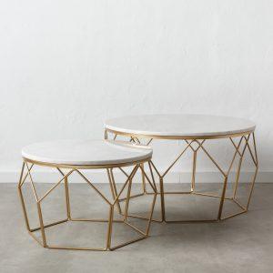 juego de dos  mesa centro blanco-oro metal-mármol
