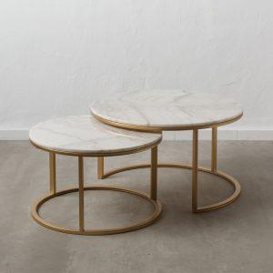 juego de dos  mesa centro oro-blanco metal-mármol