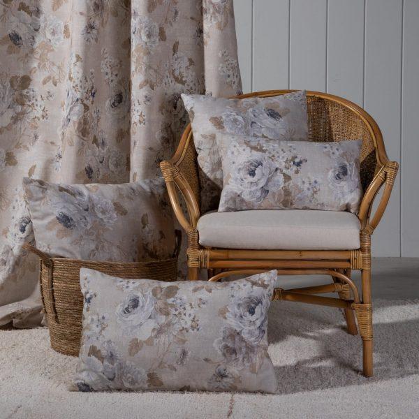 Cortina flores algodón-poliéster