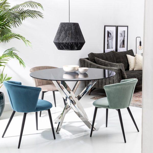 Mesa comedor plata acero-cristal salón