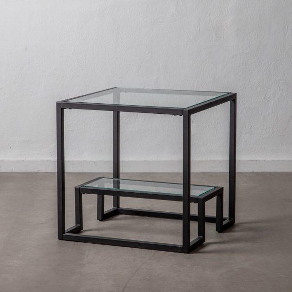 Mesita negro cristal y metal salón