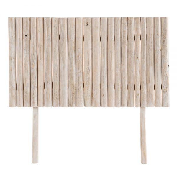 Cabecero blanco rozado madera teka