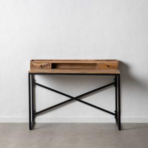 Escritorio natural-negro madera-hierro
