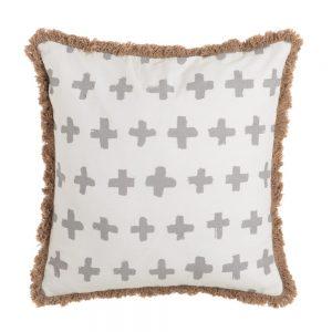 Cojín beige-gris 100% algodón