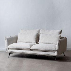 Sofá 2 plazas blanco roto tejido-metal
