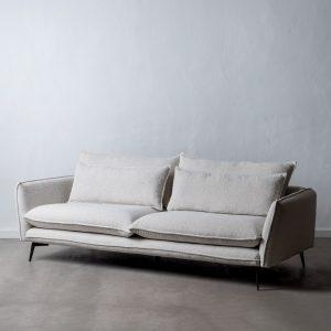 Sofá 3 plazas blanco roto tejido-metal