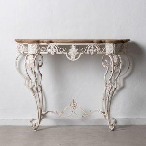 Consola blanco rozado madera / metal
