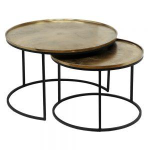juego de dos  mesa centro negro-cobre