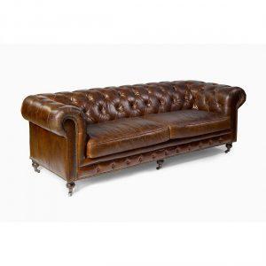 Sofa chester cuero envejecido marron tabaco