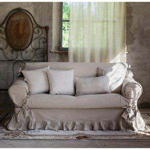 Funda sofa tres plazas blanca