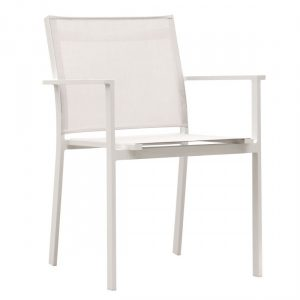 Sillon de aluminio blanco y textil plastico blanco