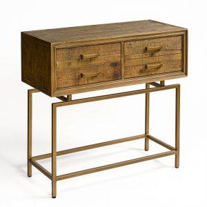 Consola de madera envjecida y metal dorado