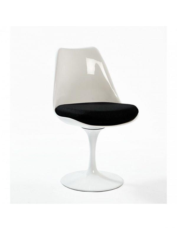 Silla blanca asiento negro