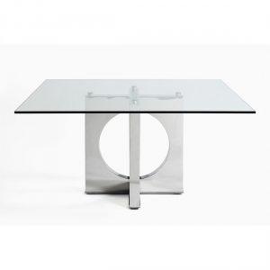 Mesa comedor acero y cristal