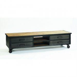 Aparador tv de metal y madera envejecida