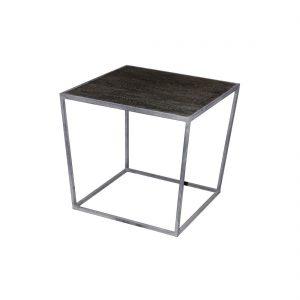 Mesa auxiliar madera y metal gris